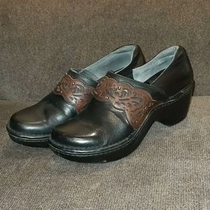 ARIAT Tambour black leather safety clogs sz 7.5